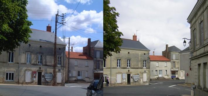 photo avant/après de travaux d'effacement des réseaux