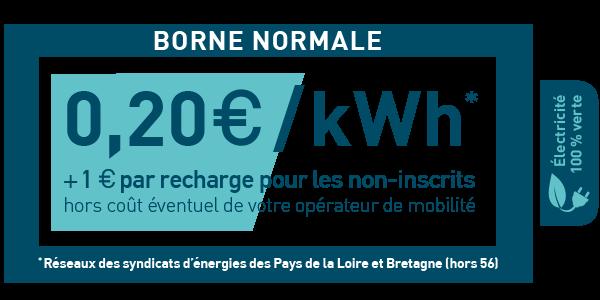 0,20 €/kWh + 1€ par recharge pour les non inscrits (hors coût éventuel de votre opérateur de mobilité).