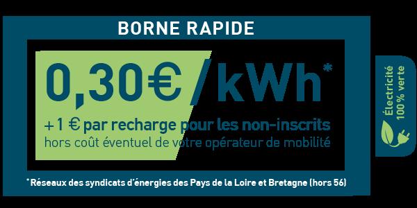 0,30 €/kWh + 1€ par recharge pour les non inscrits (hors coût éventuel de votre opérateur de mobilité).