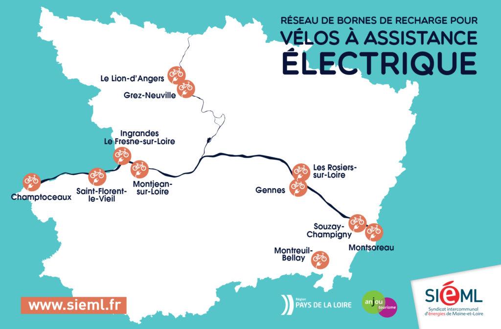 Carte de localisation des bornes pour recharger son vélo électrique sur les circuit touristique de l'Anjou.