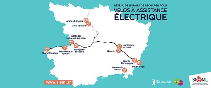 Carte de localisation des borne de recharge pour vélos électriques anjou